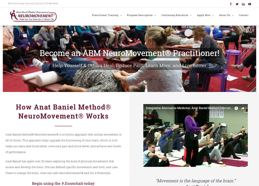 NeuroMovement website for Anat Baniel